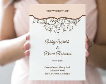 "Wedding Program ""Spring Vines"", Peach. DIY Printable Template, Folded Booklet. Fully Editable Wording & Artwork. Instant Download, Templett."