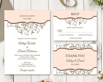 Printable Wedding Invitation Set Spring Vines, Peach Color. DIY Editable Templates: Invite, RSVP, Thank You Card. Instant Download, Templett