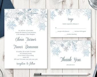 """Winter Wedding Invitation Set """"Snowflakes"""", Silver & Blue. DIY Printable Templates: Invite, RSVP, Thank You Card. Templett, Instant Download"""