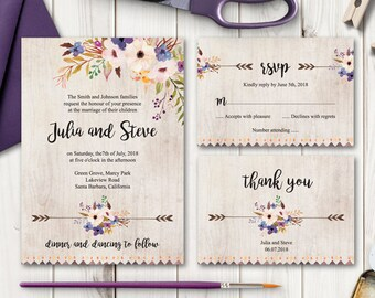 """Watercolor Flowers Invitation Set """"Whimsical Garden"""". DIY Wedding Printable Templates - Invite, RSVP Card & Thank You Note. Instant Download"""