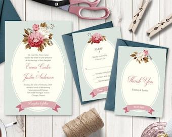 mint /& sage floral mariage invitations packs de 10 Personnalisé rustique en dentelle rose