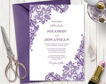 "Elegant Wedding Invitation ""Vintage Lace"", Purple. DIY Printable Rustic Invite Template. Editable Templett, Instant Download."