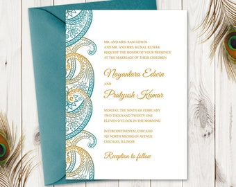 """Indian Wedding Invitation Template """"Paisley"""", Teal & Gold. DIY Printable Traditional Mhendi Ornaments Invites. Templett, Instant Download."""
