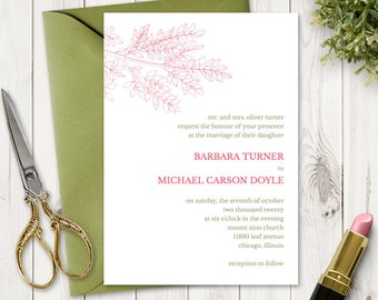"""Spring Wedding Invitation Printable Template """"Leafy Branch"""" in Hot Pink & Olive Green. DIY Outdoor Nature Invite. Templett, Instant Download"""