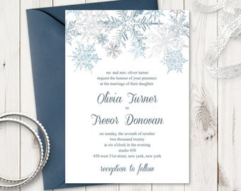 Winter Wedding Invitation Template Snowflakes, Silver & Blue. DIY Christmas Party Printable Invite. Editable Templett, Instant Download.