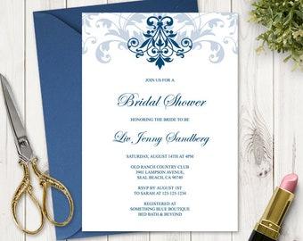 "Bridal Shower Invitation Template ""Elegant Ironwork"", Navy Blue. DIY Printable Invite, Fully Editable Text. Templett, Instant Download."