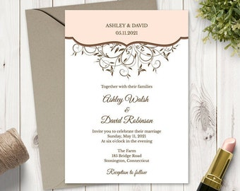"""Wedding Invitation Template """"Spring Vines"""", Peach. DIY Printable Floral Nature Invites, Fully Editable Wording. Templett, Instant Download."""