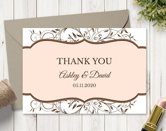 """Wedding Thank You Card Template """"Spring Vines"""", Peach Color. DIY Printable TY Note with Florals, Fully Editable. Instant Download, Templett."""