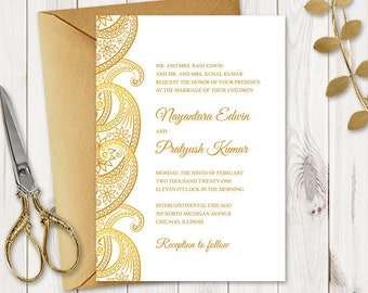 """Indian Wedding Invitation """"Paisley"""", Gold. DIY Printable Wedding Invite with Traditional Ornaments. Editable Templett, Instatn Download."""