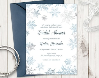 """Winter Bridal Shower Invitation Template """"Snowflakes"""", Silver & Blue. DIY Christmas Party Printable Invite. Templett, Instant Download"""
