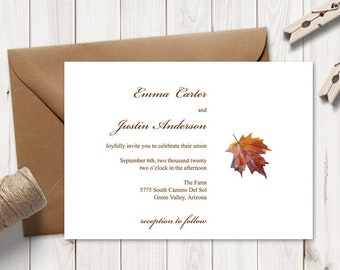 """Wedding Invitation Template """"Fall in Love"""", Brown. DIY Printable Invite with Watercolor Maple Leaf. Editable Templett, Instant Download."""