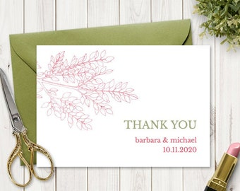 """Printable Wedding Thank You Card Template """"Leafy Branch"""" in Hot Pink & Olive Green. DIY Editable Thank You Note. Instant Download, Templett."""