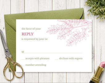 """Printable Wedding RSVP Card Template """"Leafy Branch"""" in Hot Pink & Olive Green. DIY Fully Editable Response Card. Instant Download, Templett."""