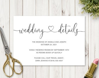 Modern Calligraphy Wedding Details Card with Fancy Heart & Swashes Script Font. DIY Printable Enclosure Template. Templett, Instant Download