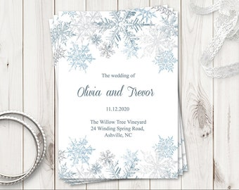 """Winter Wedding Program Template """"Snowflakes"""", Silver & Blue. Printable Christmas Party Folded Booklet Program. Templett, Instant Download."""