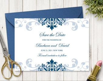 """Classic Wedding Save the Date Card """"Elegant Ironwork"""" with Navy Blue Ornaments. DIY Printable Template. Editable Templett, Instant Download."""