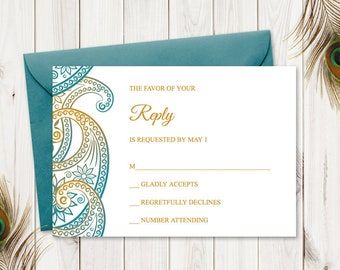 """Indian Wedding RSVP """"Paisley"""", Teal & Gold. DIY Printable Traditional Mhendi Ornaments Response Card. Template. Templett, Instant Download."""