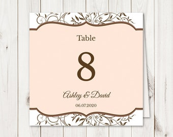 """Wedding Table Numbers Printable Template """"Spring Vines"""". DIY Cards and Signs in Peach & Brown, Tent Folded. Instant Download, Templett."""