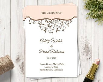 "Wedding Program ""Spring Vines"", Peach. DIY Printable Template, Folded Booklet. Fully Editable Wording & Artwork. Templett, Instant Download."