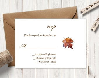 """Watercolor RSVP Template """"Fall In Love"""", Brown. DIY Printable Wedding  Maple Leaf Response Card Insert. Editable Templett, Instant Download."""