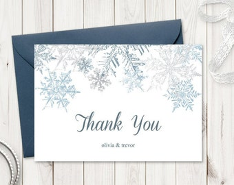 """Winter Wedding Thank You Card Template """"Snowflakes"""", Silver & Blue. DIY Christmas Party Thank You Note. Editable Templett, Instant Download."""