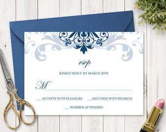 "Classic Wedding RSVP Template ""Elegant Ironwork"", Navy Blue Ornaments. DIY Printable Response Enclosure Card. Templett, Instant Download."