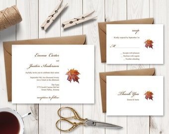 Wedding Invitation Set Fall In Love, Brown. Printable Watercolor Maple Leaf Templates: Invite, RSVP & Thank You. Templett, Instant Download.
