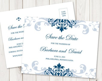 """Save the Date Postcard """"Elegant Ironwork"""", with Navy Blue Ornaments. DIY Classic Wedding Printable Template. Templett, Instant Download."""