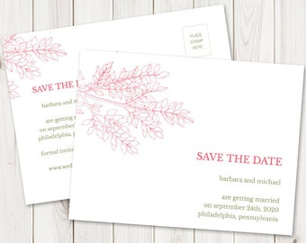 """Save the Date Postcard """"Leafy Branch"""" Hot Pink & Olive Green. DIY Wedding Printable Template, Fully Editable. Templett, Instant Download."""