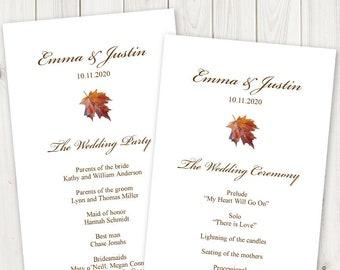 "Watercolor Wedding Program ""Fall In Love"", Brown. DIY Maple Leaf Program Printable Template, Tea Length. Edtable Templett, Instant Download."