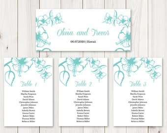 Hanging Cards Wedding Seating Chart Template Hawaii DIY Printable Table Plan Tropical Pink Hibiscus Flower Templett Instant Download.