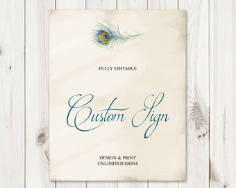 """Custom Wedding Sign Template """"Peacock Feather"""", Teal. DIY Printable Vintage Bohemian Style Sign. Editable Templett, Instant Download."""