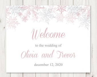 """Custom Sign Template """"Snowflakes"""", Dusty Pink & Silver. DIY Printable Winter Wedding or Christmas Party Signs. Templett, Instant Download."""