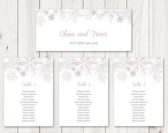 Winter Wedding Seating Chart Template Snowflakes, Dusty Pink & Silver. DIY Printable Christmas Party Table Plan. Templett, Instant Download.