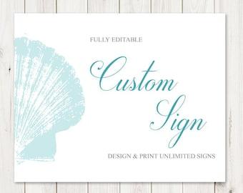 "Custom Sign Template ""Seaside Romance"", Teal. DIY Printable Destination Wedding or Beach Party Sign. Editable Templett, Instant Download."