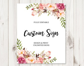"""Custom Sign Template """"Bohemian Love"""". DIY Printable Watercolor Flowers Boho Wedding or Party Signs. Editable Templett, Instant Download."""