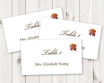 """Watercolor Wedding Place Card Template """"Fall in Love"""", Brown. Maple Leaf Table Name Cards. DIY Escort Cards. Templett, Instant Download."""