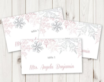 """Winter Wedding Place Card Template """"Snowflakes"""", Dusty Pink & Silver. DIY Printable Christmas Party Escort Card. Templett, Instant Download."""