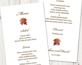"Printable Wedding Menu Template ""Fall in Love"", Brown. DIY Watercolor Maple Leaf Dinner Menu Cards. Edtable Templett, Instant Download."