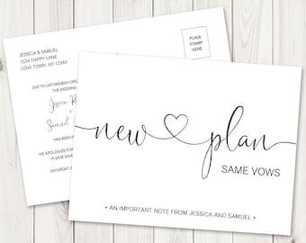 New Plan Same Vows Wedding Postponed Announcement Postcard Template. DIY Printable Change the Date Elegant Card. Templett, Instant Download.