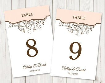 """Wedding Table Numbers Printable Template """"Spring Vines"""". DIY Cards and Signs in Peach & Brown Colors, Flat. Instant Download, Templett."""