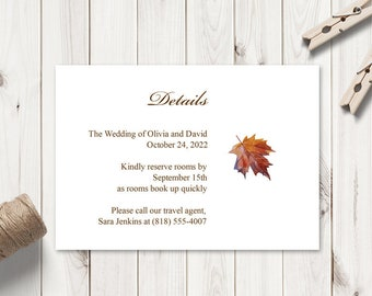 """Watercolor Wedding Details Template """"Fall In Love"""", Brown. DIY Printable Information Card Insert. Editable Templett Format, Instant Download"""