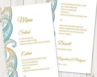 "Indian Wedding Menu Template ""Paisley"", Teal & Gold. DIY Printable Traditional Mhendi Ornaments Dinner Menu. Templett, Instant Download."