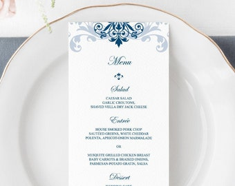 "Classic Wedding Menu Template ""Elegant Ironwork"" with Navy Blue Ornaments. Printable Dinner Menu Card. Editable Templett, Instant Download."