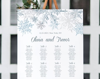 Seating Chart Poster Template Snowflakes, Silver & Blue. Printable Winter Wedding Custom Seating Chart Plan Sign. Templett, Instant Download