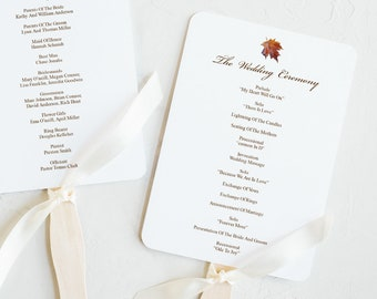 "Watercolor Wedding Fan Program ""Fall in Love"", Brown. DIY Printable Maple Leaf Template, Rustic Style. Editable Templett, Instant Download."