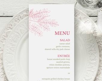 "Nature Wedding Menu Template ""Leafy Branch"", Hot Pink & Olive Green. DIY Printable Menu, Fully Edtable Wording. Instant Download, Templett."
