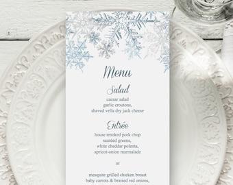 "Winter Wedding Menu Template ""Snowflakes"", Silver & Blue. DIY Printable Christmas Party Dinner Menu. Editable Templett, Instant Download."