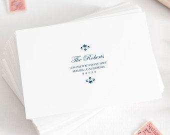 "Wedding Envelope Template ""Elegant Ironwork"", Navy Blue. Printable Return Address Calligraphy Label, Editable. Templett, Instant Download."