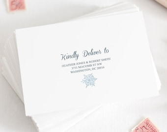 Christmas Card Envelope Template Snowflakes, Silver Blue. Printable Winter Wedding Return Address, Mailing Label. Templett, Instant Download